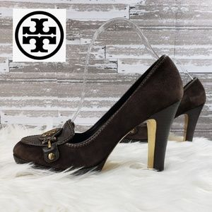 Tory Burch Joan Loafer Brown Suede Pumps